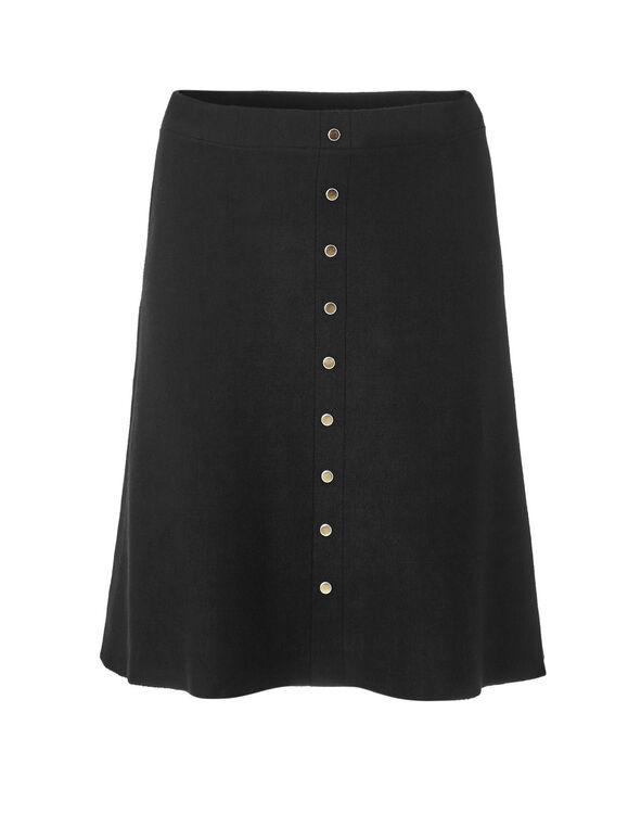 Black Sweater Flippy Skirt, Black, hi-res