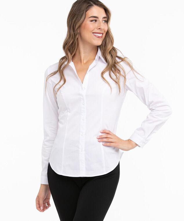 Cotton Blend Button Front Blouse, White