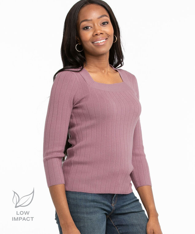 Low Impact Square Neck Sweater, Dusty Purple