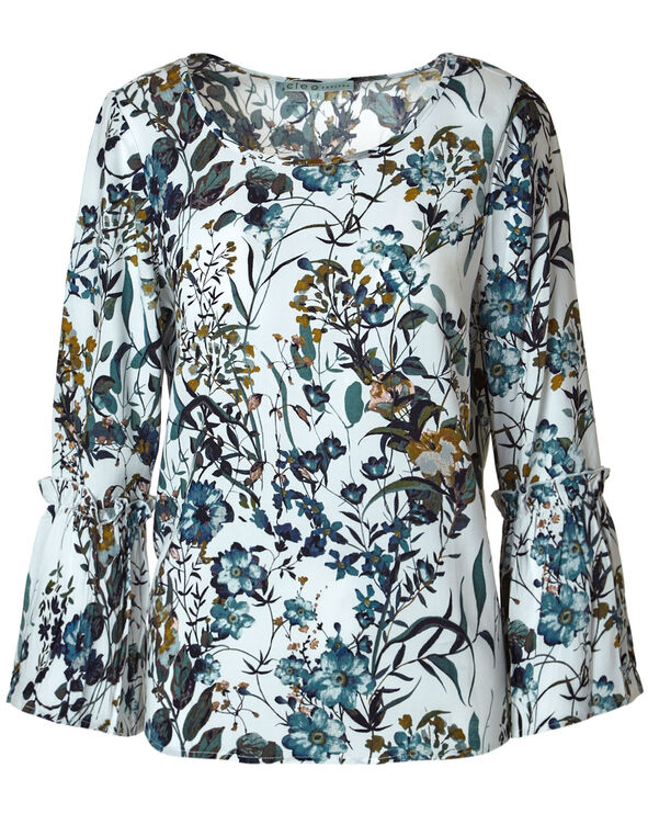 Floral Pleated Bell Sleeve Blouse, White, hi-res