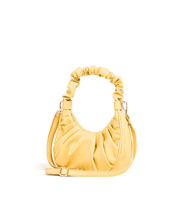 Yellow Ruched Vegan Leather Bag, Butter Yellow