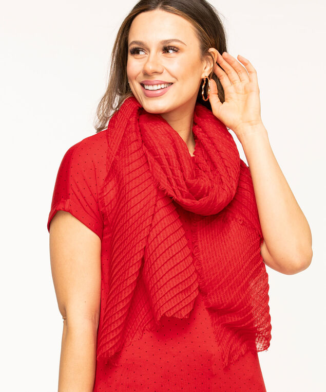 Red Pleated Oblong Scarf, Red