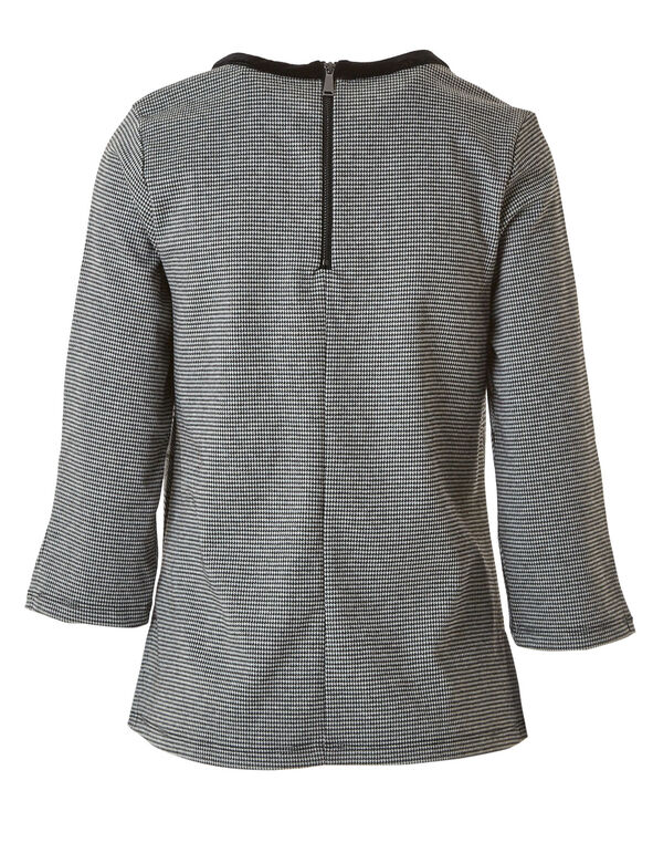 Grey Plaid Velvet Neck Top, Grey, hi-res