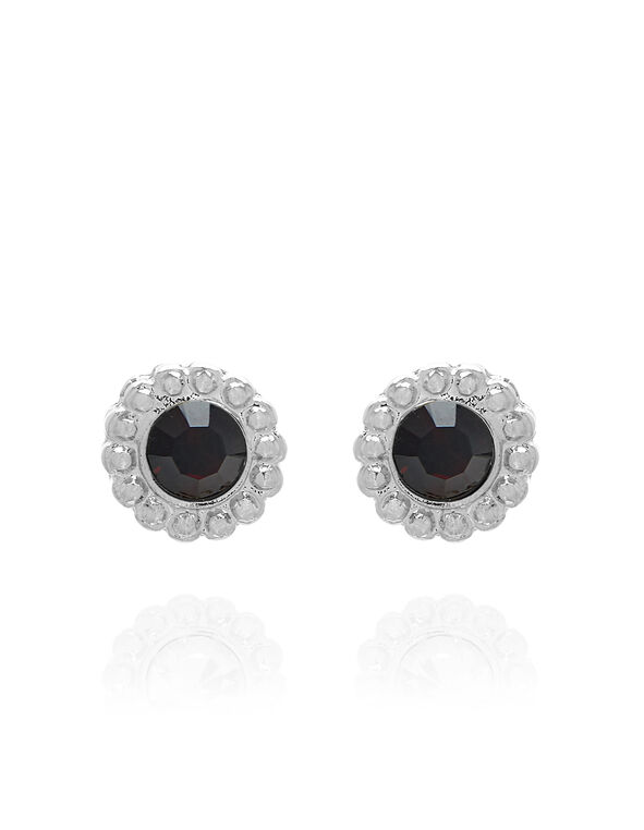 Genuine Crystal Garnet Earring, Red/Silver, hi-res