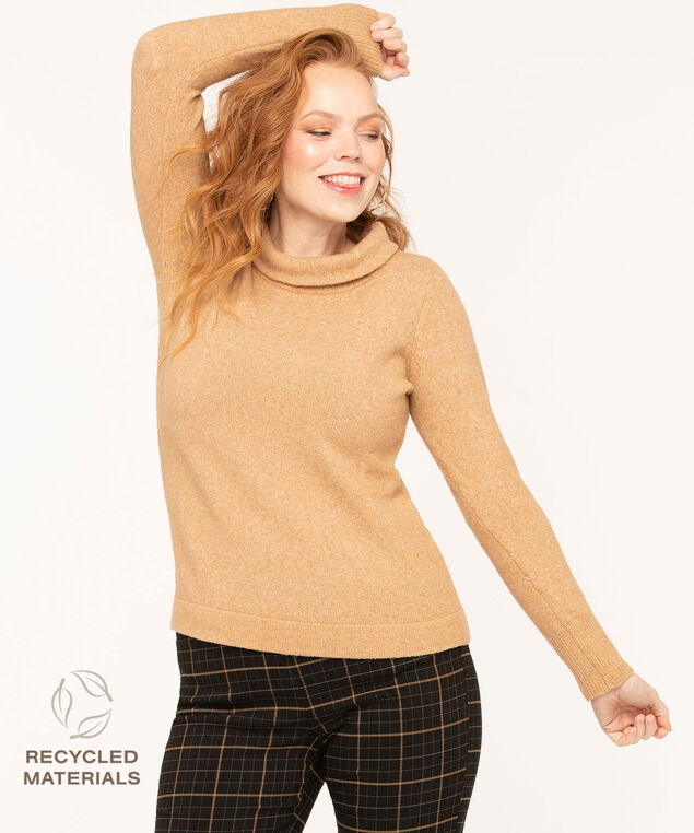 Recycled Mock Neck Camel Sweater, Camel, hi-res