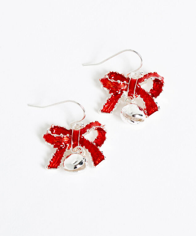 Silver Bell Drop Earrings, Silver/Red, hi-res