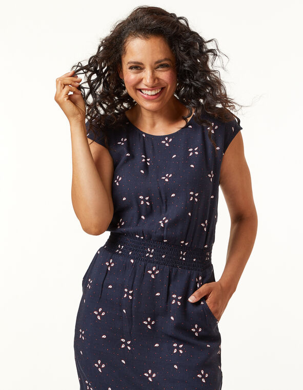 Navy Paisley Rayon Twill Dress, Navy, hi-res