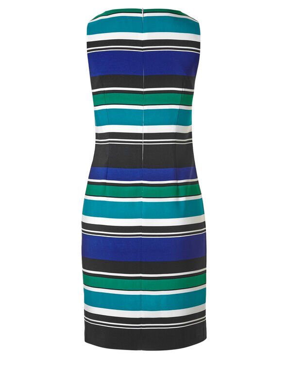Striped Sheath Dress, Turquoise Stripe, hi-res