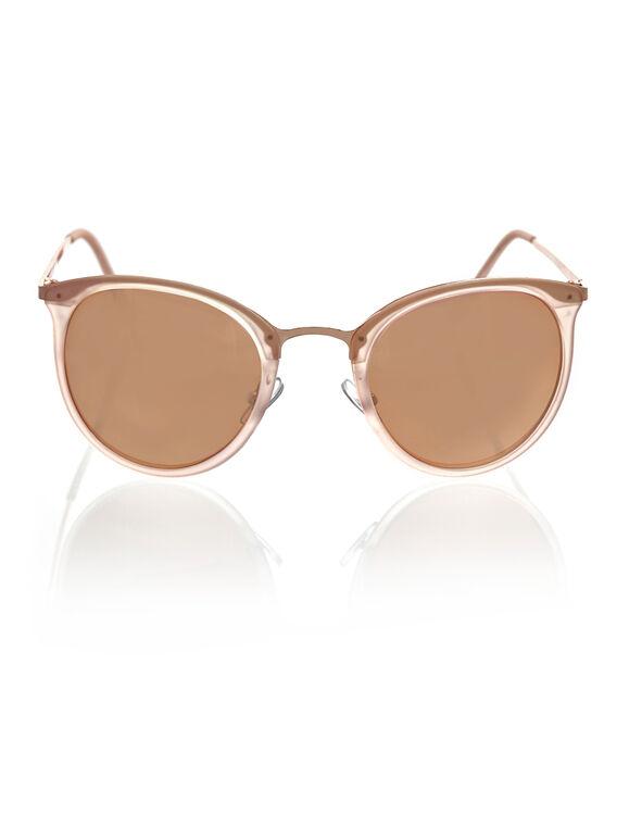 Pink Round Frame Sunglasses, Pink, hi-res