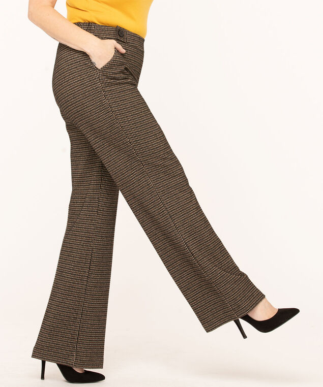 Jacquard Plaid Wide Leg Pant, Camel/Black, hi-res