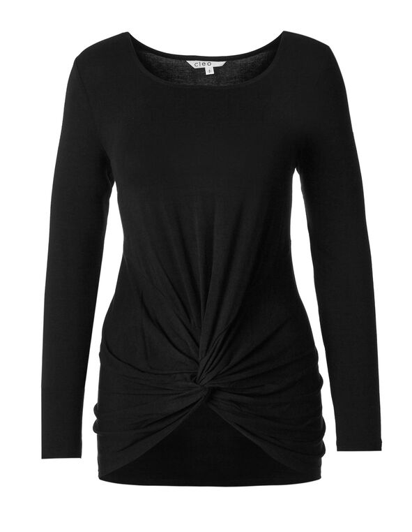 Black Front Knot Top, Black, hi-res