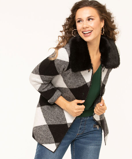 Diamond Plaid Button Up Sweater, Black/Pearl, hi-res