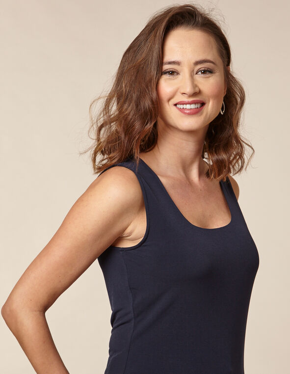 Navy Essential Scoop Layering Tank, Navy, hi-res