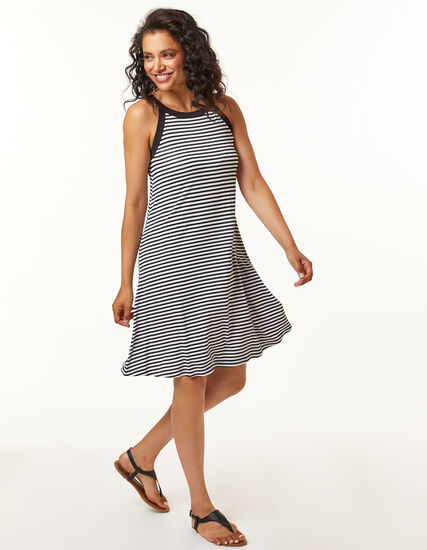 Black Stripe Dress, Black, hi-res
