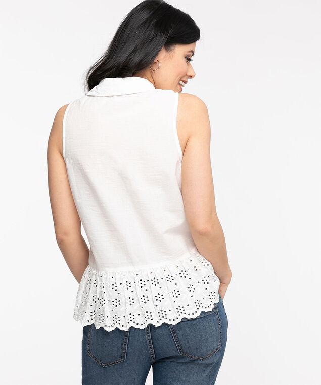 Sleeveless Crochet Peplum Blouse, Ivory