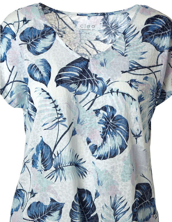 Blue Tropical Print Burnout Tee, Blue, hi-res