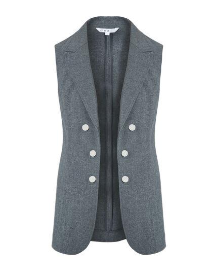 Grey Notch Collar Vest, Grey, hi-res