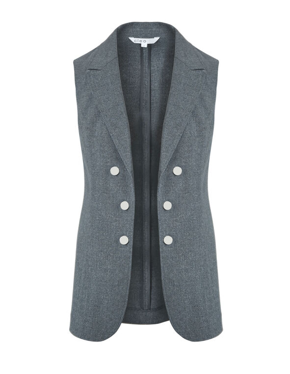 Grey Notch Collar Vest, Grey, hi-res