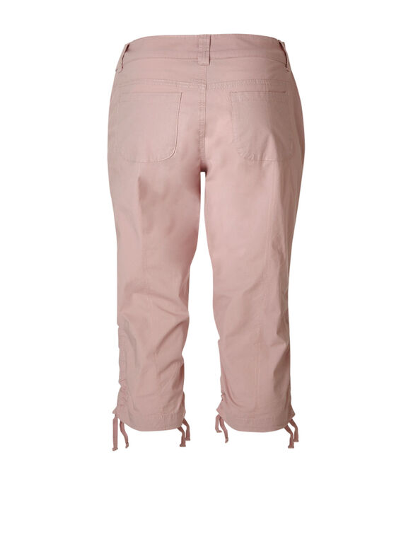 Pink Ruched Poplin Capri, Cotton Candy, hi-res