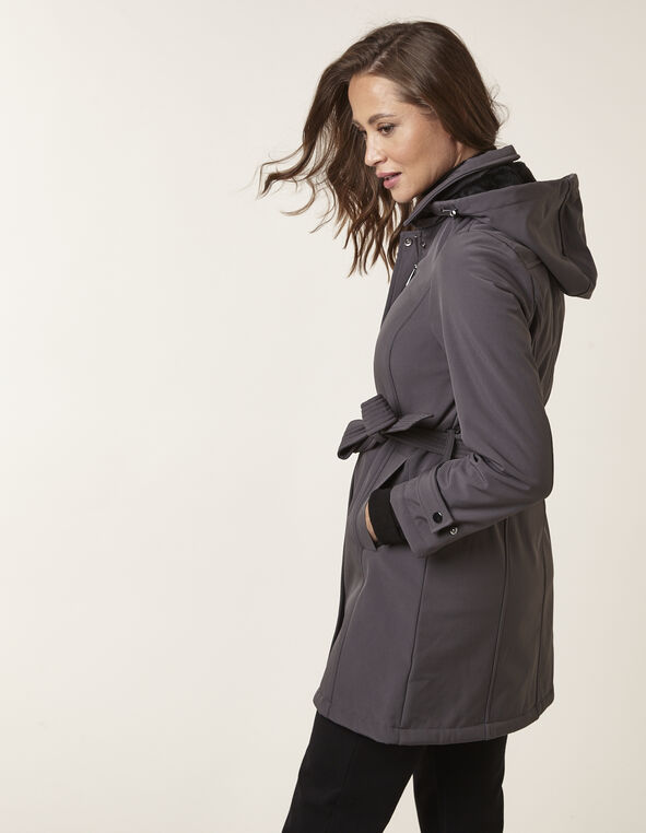 Charcoal Softshell Trench Coat, Charcoal, hi-res
