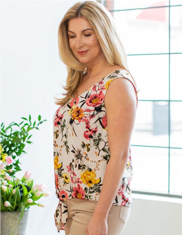 Floral Print Side Tie Blouse, Beige, hi-res