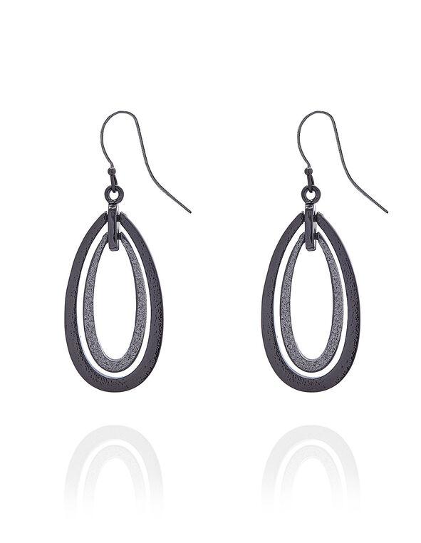 Black Glitter Oval Earring, Black, hi-res