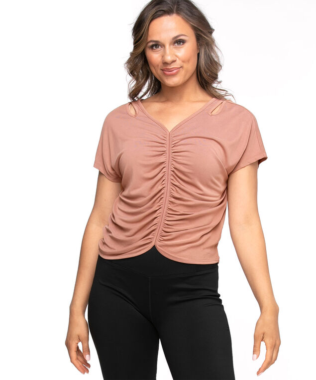 Ruched Front Cutout Active Top, Dusty Pink