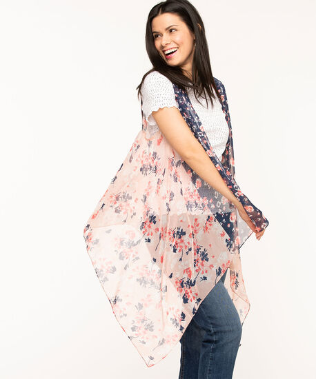 Soft Floral Sleeveless Cover-Up, Navy/Coral, hi-res
