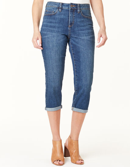 Mid Wash Capri Jean, Blue, hi-res