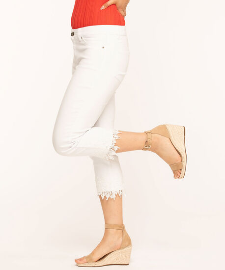 White Lace Hem Capri Jean, White, hi-res
