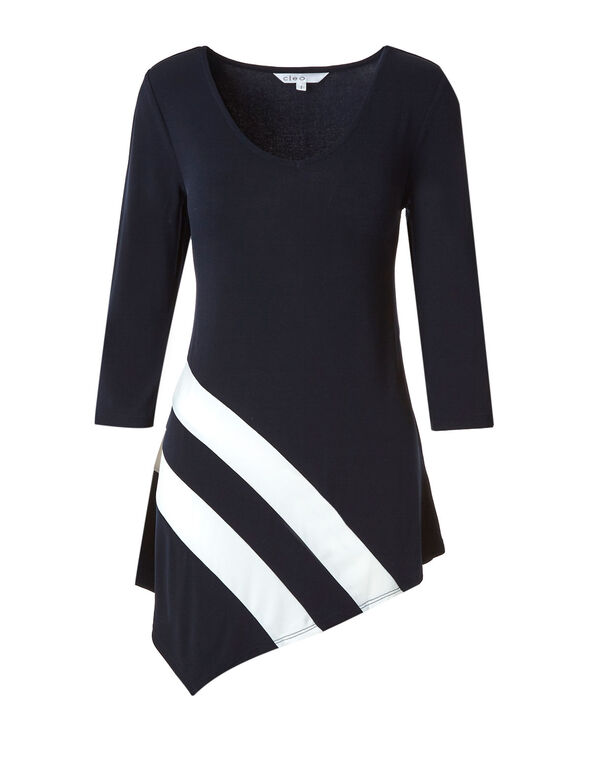 Navy Asymmetrical Tunic, Navy, hi-res