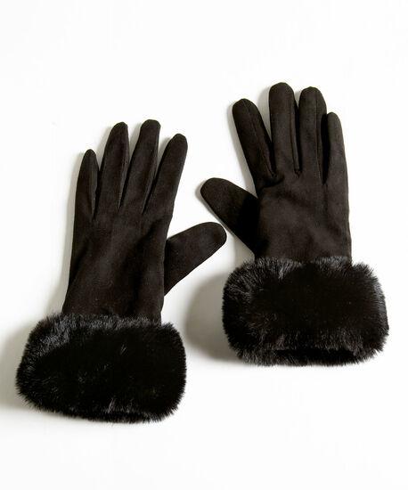 Faux Suede Faux Fur Gloves, Black, hi-res