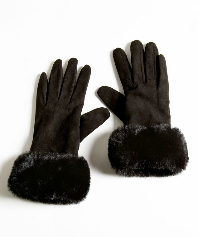 Faux Suede Faux Fur Gloves, Black, hi-res