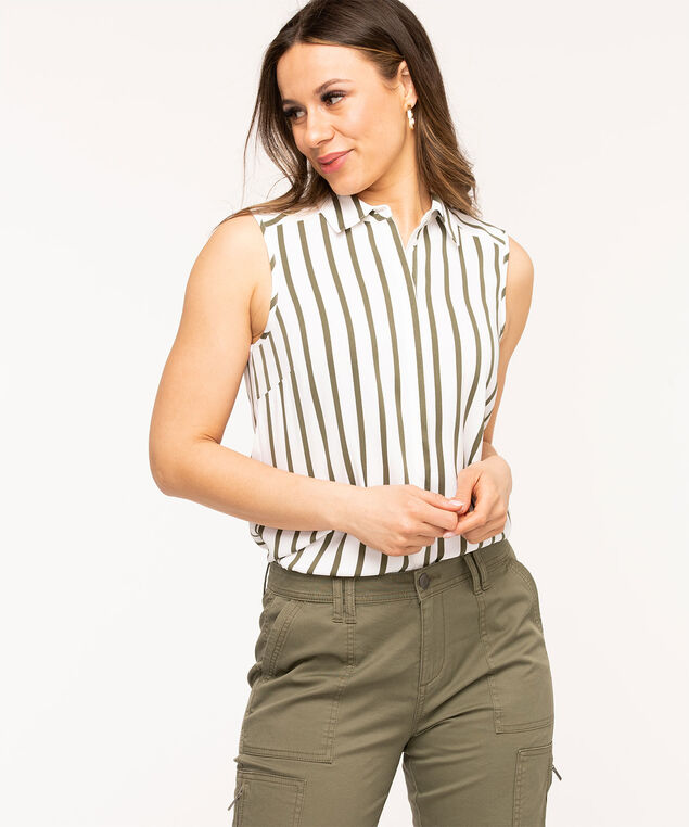 Sleeveless Collared Button Front Blouse, Olive/White Stripe