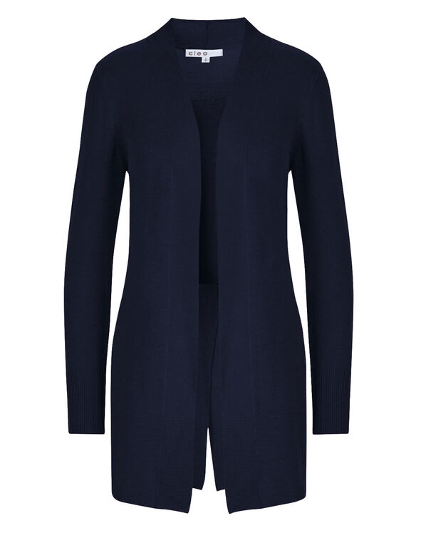 Navy Split Back Cardigan, Navy, hi-res
