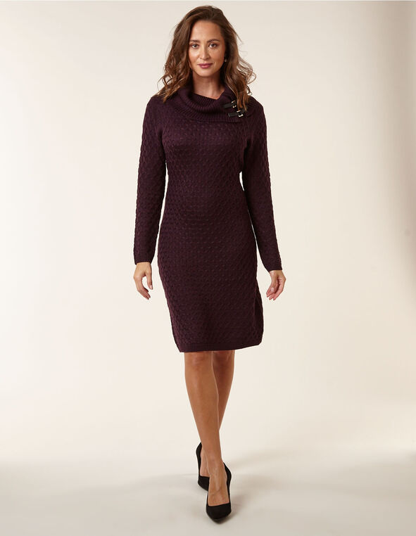 Purple Embossed Knit Sweater Dress, Purple, hi-res