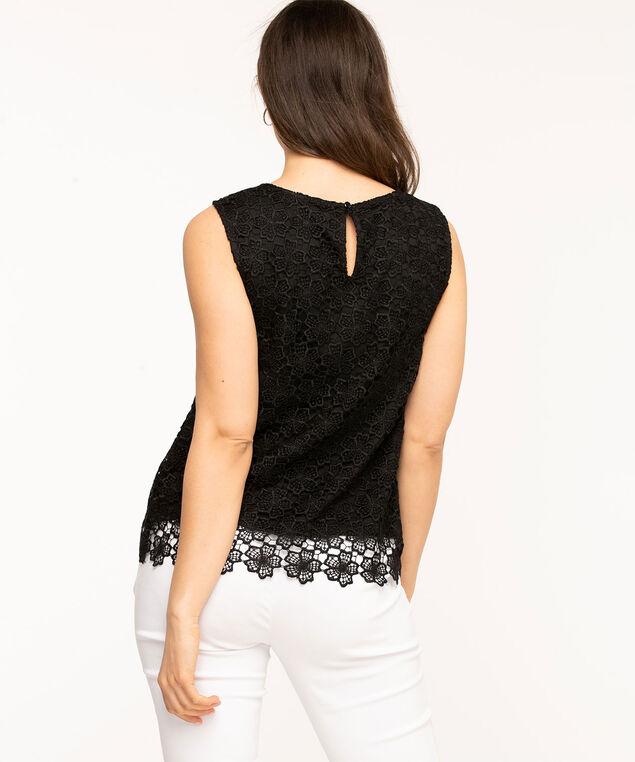 Sleeveless Lace Overlay Blouse, Black