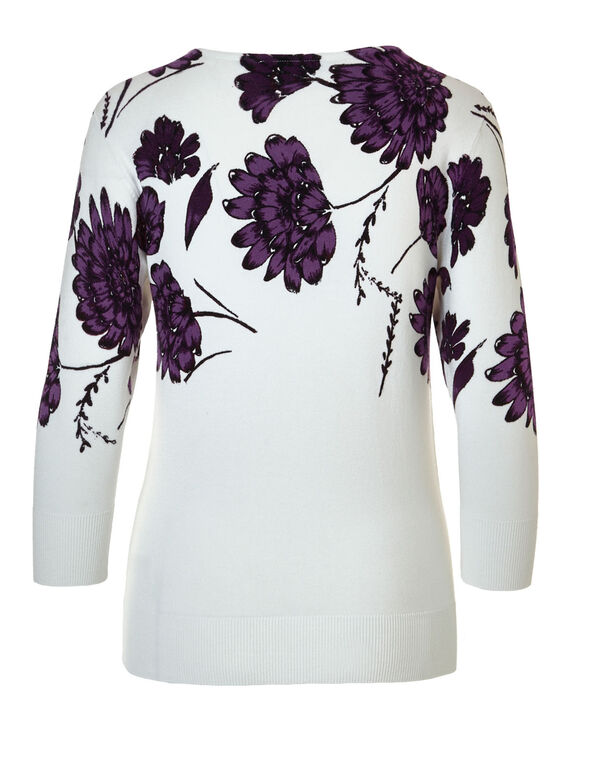 Floral Printed Pullover, Ivory Combo, hi-res