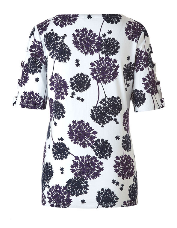 White Floral Open Arm Top, White/Navy, hi-res