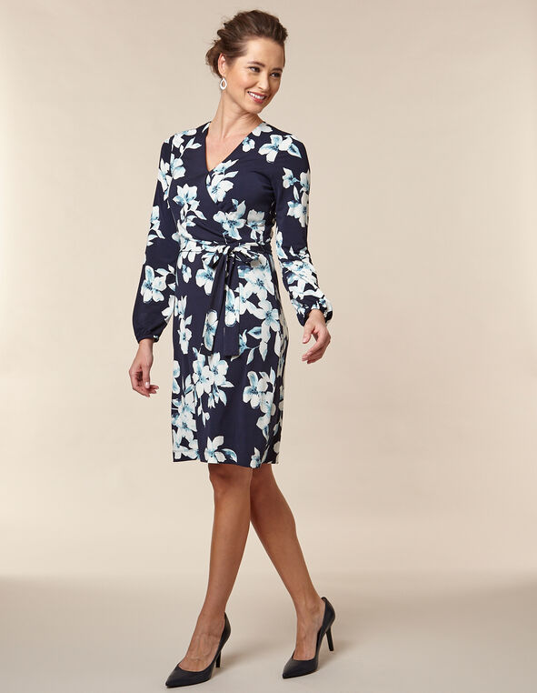 Navy Floral Printed Crossover Dress, Navy/Blue, hi-res
