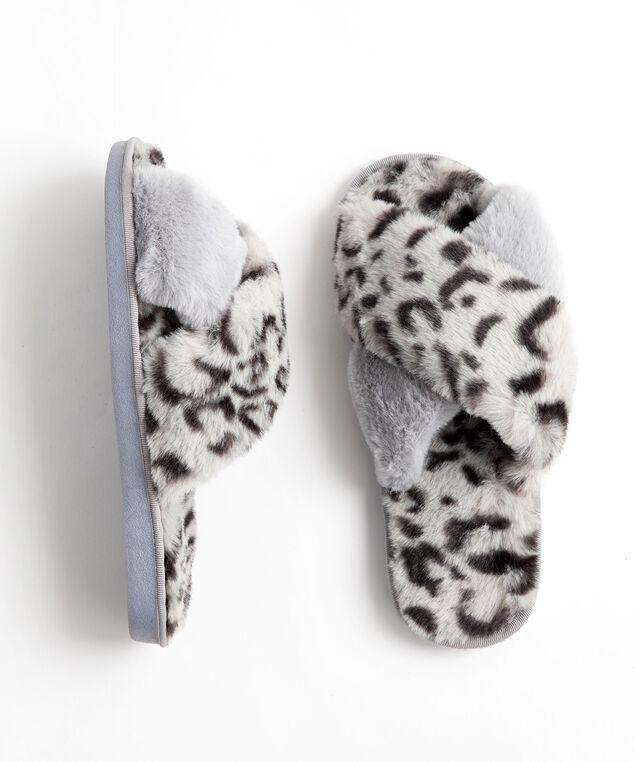 Animal Print Plush Slipper, Grey