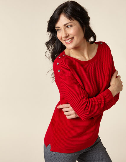 Poppy Ottoman Pullover Sweater, Red/Poppy, hi-res