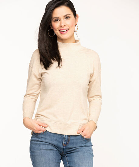 French Terry Mock Neck Top, Oatmeal Mix, hi-res