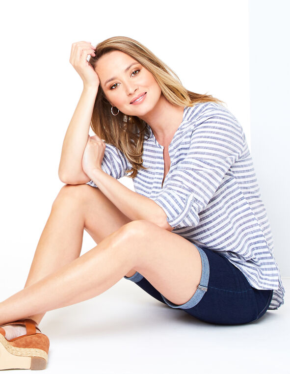 Navy Striped Blouse Look, , hi-res