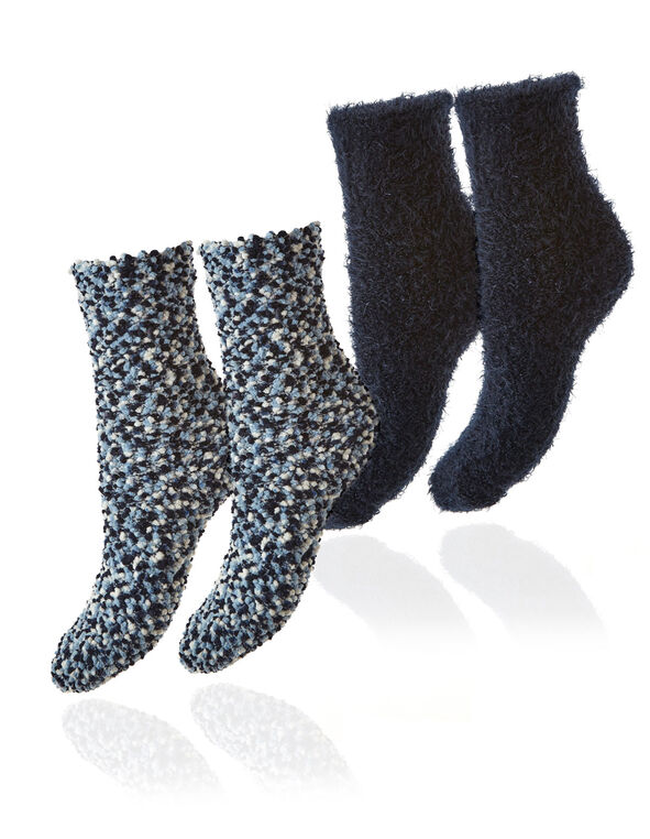 Blue Plush Sock 2-Pack, Blue, hi-res