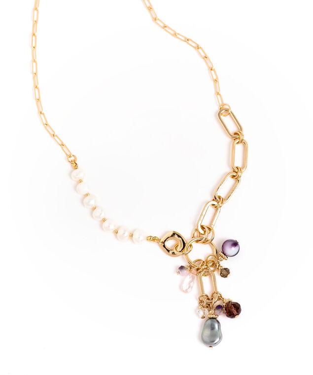Long Pearl & Chain Beaded Necklace, Gold