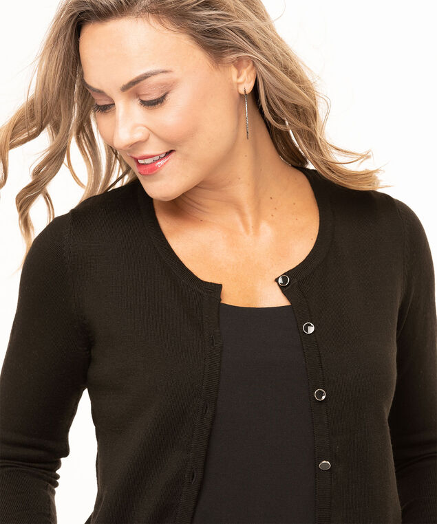 Recycled Button Down Cardigan, Black, hi-res