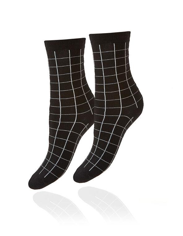 Black Windowpane Printed Crew Sock, Black, hi-res