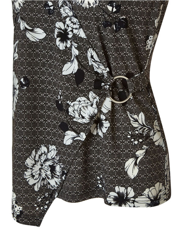 Black Floral Wrap Top, Black/White, hi-res