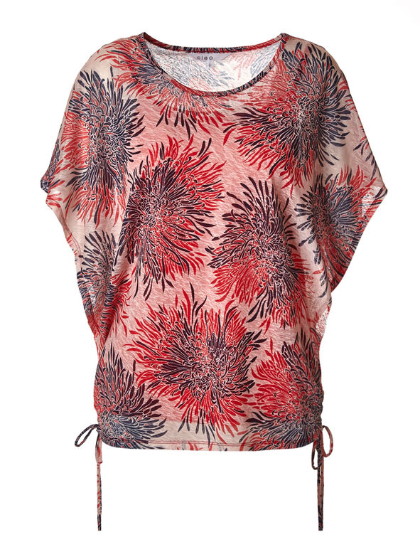 Coral Floral Wide Sleeve Top, Coral, hi-res